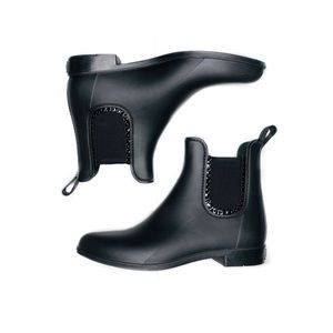 Used, Jack Rogers Sallie Rain Scalloped Black Boots for sale